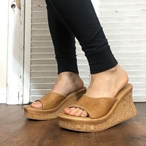 Hot kiss chunky tan 90s style wedge sandals